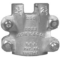 # DIX250 - Boss Clamp - 4-Bolt Type - 4 Gripping Fingers - Plated Iron - Hose ID: 2 in. - Hose OD: 2-16/64 in. to 2-32/64 in.