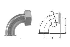 # SANB2FMP-14-G300 - 90 Degree Clamp by Plain Bevel Seat with Hex Nut Elbows - 304 Stainless Steel - 3 in.