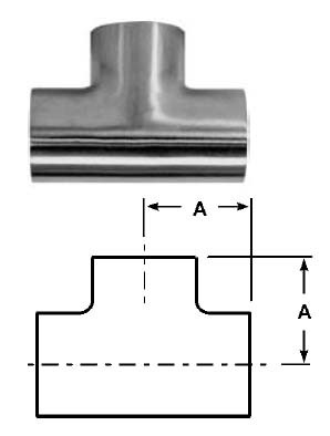 # SANB7WWW-G250P - Buttweld Short Tees, Polished - 304 Stainless Steel - 2-1/2 in.