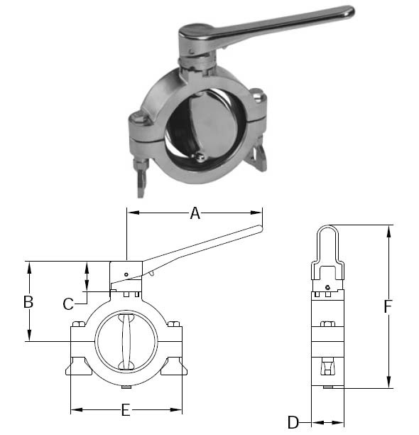 # SANB5102S150-A  -  Clamp Butterfly Valves  -  316L Stainless Steel with Silicone Seal  -  1-1/2 in.