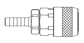 # 210-3703 - 210 Series 1/4 in. - Hose Stem (Require Hose Clamps) - Automatic Socket - Brass Body / Steel Sleeve - 3/8 in.