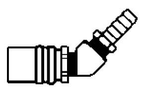 FS224VP - 1/4 in. - FJT Series - One Way (Valved) - Push-On Stem - Socket - 45 Degree Hose Stem - 1/4 in.