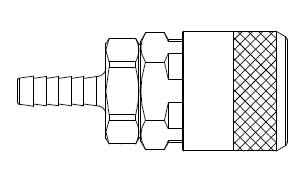 # TF4804 - TF4 Series 3/8 in. - Hose Stem (Require Hose Clamps) - Automatic Socket - 3/8 in.