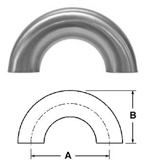 # SANB2WUL-R150P - 180 Degree Buttweld Return Bends, Polished - 316L Stainless Steel - 1-1/2 in.