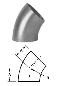 # SANB2WK-R150P - 45 Degree Buttweld Elbows, Polished - 316L Stainless Steel - 1-1/2 in.