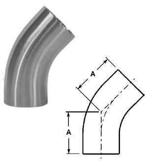 # SANB2KS-G250P - 45 Degree Buttweld Elbows with Tangent, Polished - 304 Stainless Steel - 2-1/2 in.