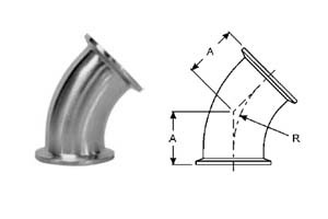 # SANB2KMP-R75 - 45 Degree Clamp Elbows - 316L Stainless Steel - 3/4 in.