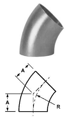# SANB2WK-R250U - 45 Degree Unpolished Weld Elbows - 316L Stainless Steel - 2-1/2 in.