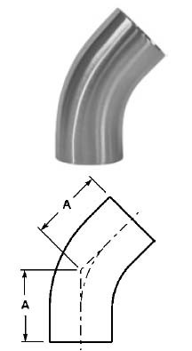 # SANB2KS-R200U - 45 Degree Unpolished Weld Elbows with Tangent - 316L Stainless Steel - 2 in.
