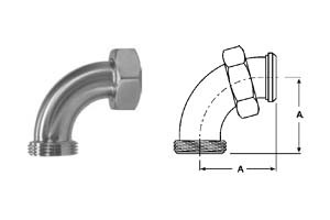 # SANB2F-G300 - 90 Degree Bevel Seat Elbows - 304 Stainless Steel - 3 in.