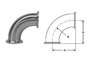# SANB2CMP-R100 - 90 Degree Clamp Elbows - 316L Stainless Steel - 1 in.