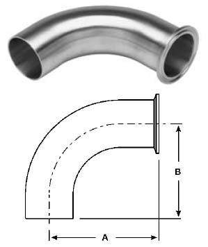 # SANB2CM-R100 - 90 Degree Clamp x Buttweld Elbow, Polished - 316L Stainless Steel - 1 in.