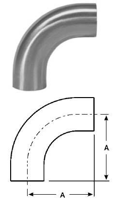 # SANB2S-G200U - 90 Degree Unpolished Weld Elbows with Tangent - 304 Stainless Steel - 2 in.