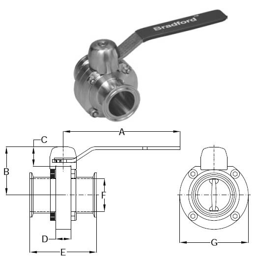 Butterfly Valves with Push Handle - [D]