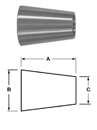 # SANB31W-G400300P - Buttweld Concentric Reducers, Polished - 304 Stainless Steel - 4 in. x 3 in.