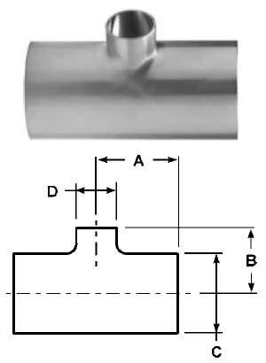 # SANB7RWWW-G300150P - Buttweld Reducing Tees - 304 Stainless Steel - 3 in. x 1-1/2 in.