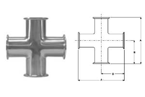 # SANB9MP-R100 - Clamp Crosses - 316L Stainless Steel - 1 in.