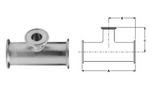 # SANB7RMP-R200100 - Clamp Reducing Tees - 316L Stainless Steel - 2 in. x 1 in.