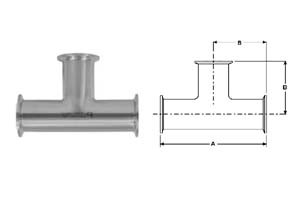 # SANB7MP-R300 - Clamp Tees - 316L Stainless Steel - 3 in.