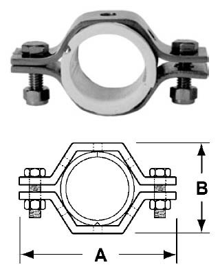 # SANB24PS-G75 - Hex Tube Hangers with Sleeves - 304 Stainless Steel - 3/4 in.