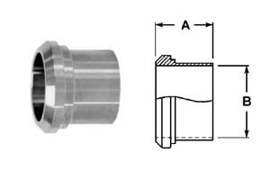 # SAN14A-G300 - Long Plain Bevel Seat Ferrules - 304 Stainless Steel - 3 in.