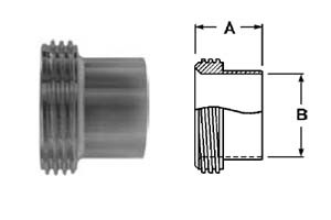 # SAN15A-G300 - Long Threaded Bevel Seat Ferrules - 304 Stainless Steel - 3 in.