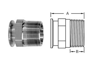# SAN21MP-G100150 - Clamp x Male NPT Adapters - 304 Stainless Steel - Tube OD: 1 in. - Thread Size: 1-1/2 in.