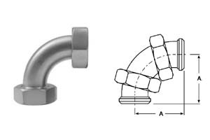 # SANB2E-G200 - Plain Bevel Seat x Plain Bevel Seat with Hex Nut 90 Degree Elbows - 304 Stainless Steel - 2 in.