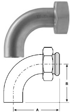 # SANB2FP-G150 - Plain End Bevel Seat with Hex x 90 Degree Buttweld Elbow, Polished - 304 Stainless Steel - 1-1/2 in.