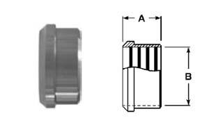 # SAN14R-G150 - Recessless Plain Bevel Seat Ferrules - 304 Stainless Steel - 1-1/2 in.