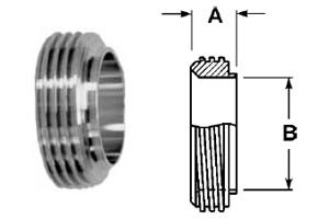 # SAN15TRF-G400 - Short Threaded Bevel Seat Ferrules - 304 Stainless Steel - 4 in.