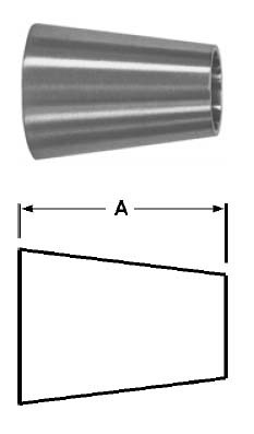 # SANB31W-G200150U - Tube OD Weld Concentric Reducers - 304 Stainless Steel - 2 in. x 1-1/2 in.