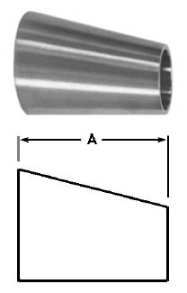 # SANB32W-G400300U - Tube OD Weld Eccentric Reducers - 304 Stainless Steel - 4 in. x 3 in.