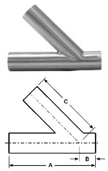 # SANB28WA-R250U - Tube OD Weld Laterals - 316L Stainless Steel - 2-1/2 in.