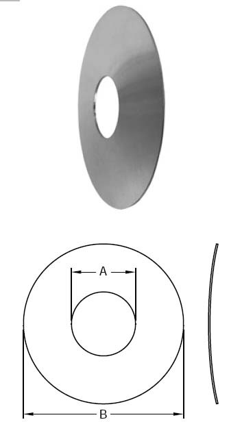 # SANB25-G050300 - Wall Flanges - 304 Stainless Steel - 1/2 in. - Dimensions:  A: 0.5202  B: 3