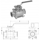 # SANBV2CV-050CC-A - 2-Way 3 Piece Encapsulated Ball Valves - 1/2 in.